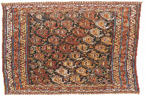The repetition of geometric patterns of Buthe in a Qashqai rug